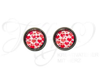 Earrings Stainless Steel * Cabochon Heart 8 mm * Heart * Hearts * Stainless steel * stud * Earring