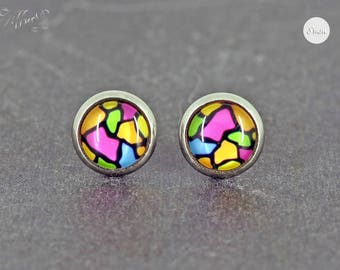 Earrings Stainless steel Cabochon coloured pattern 8 mm * Stainless steel * stud earring