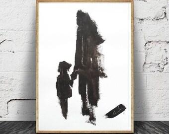 Kunst Und Sammlungen Gravur Art Wand Minimalisteimprimable Meditation Zu  Drucken, Druckbare Poster, Download Digital, Schwarz Und Weiß.