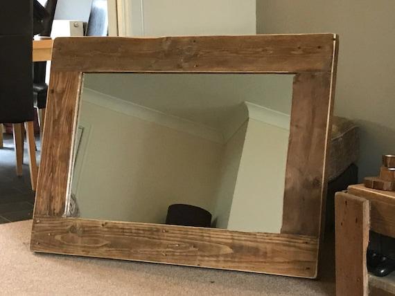Handmade Rustic Wood Framed Mirror, Wood Rustic Mirror