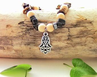 Bracelet elastic women - Hematite - Tiger eye - wood - hand of Fatima