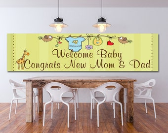 Baby shower vinyl banner, Full color banner, Indoor Outdoor banner, Any size color custom banner, Heavyweight custom banner, Custom signs