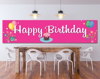 Happy Birthday vinyl banner, Full color banner, Indoor Outdoor banner, Any size color custom banner, Heavyweight custom banner, Custom signs
