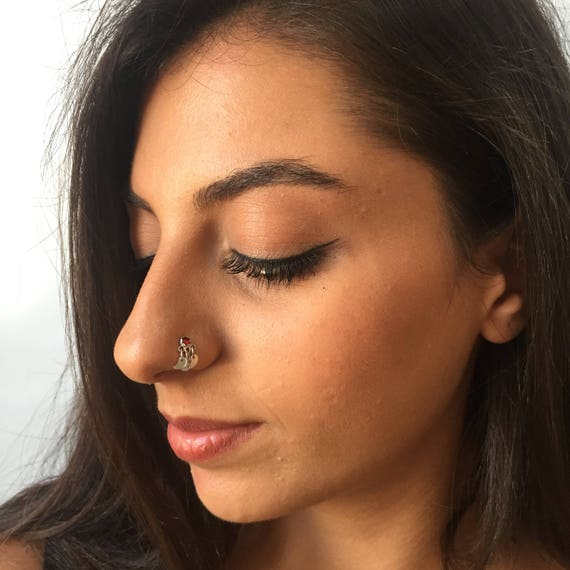 Tiny Nose Rings Boho Nose Ring Red Nose Ring For Women Etsy