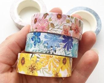 Vintage Watercolor Floral /& Label Collage Washi Masking Tape Moodtape 57mm width