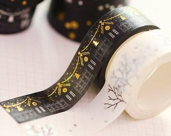 Christmas washi tape, gold washi tape, planner stickers, washi tape, bullet journal, scrapbooking tape, MT, silver washi, winter washi