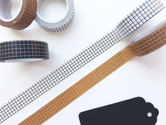 Washi Tape Black Lines Bullet Journal Grid Planner Accessory 15mm x 10m