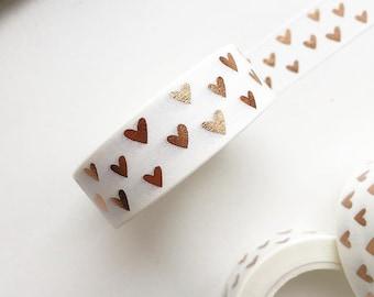 Hearts Rose Gold Foil washi tape, planner stickers, foil washi tape, washi tape, MT, rose gold washi, hearts tape, heart washi