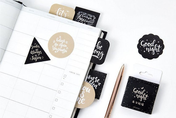 Motivational quotes stickers happy quotes black and white stickers set sticker pack journal stickers planner stickers wishes sticker