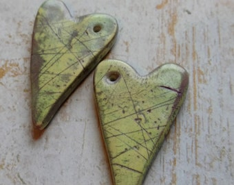 Polymer Clay Earring Components Handcrafted, Chalk Pastels, Green Hearts