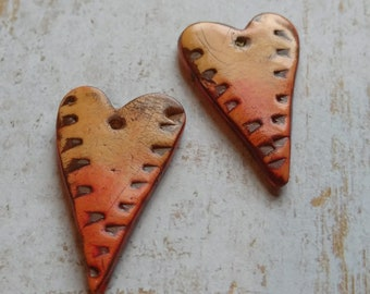 Polymer Clay Earring Components Handcrafted Chalk Pastels, Red/Orange Hearts