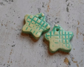 Polymer Clay Handcrafted Earring Components, Chalk Pastels, Blue/Yellow Stars