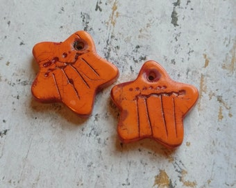 Handcrafted Polymer Clay Earring Components, Chalk Pastels, Orange Stars