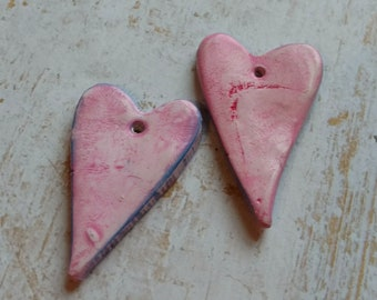 Polymer Clay Earring Components Handcrafted Chalk Pastels, Pink/Blue Hearts