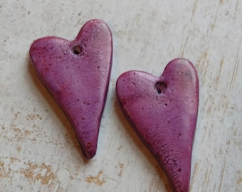 Handcrafted Earring Components, Polymer Clay Chalk Pastels, Purple Hearts