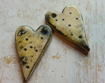 Polymer Clay Earring Components Handcrafted Chalk Pastels, Black/Yellow Hearts