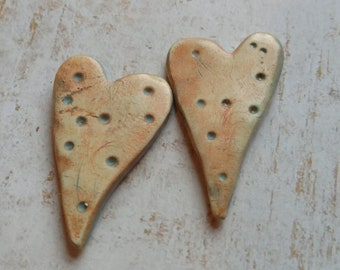 Polymer Clay Handcrafted Earring Components, Chalk Pastels, Orange Hearts