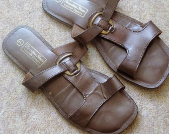 45f8b301e335 Brown Leather Flip Flops by Kerentine Shoes size 7 uk