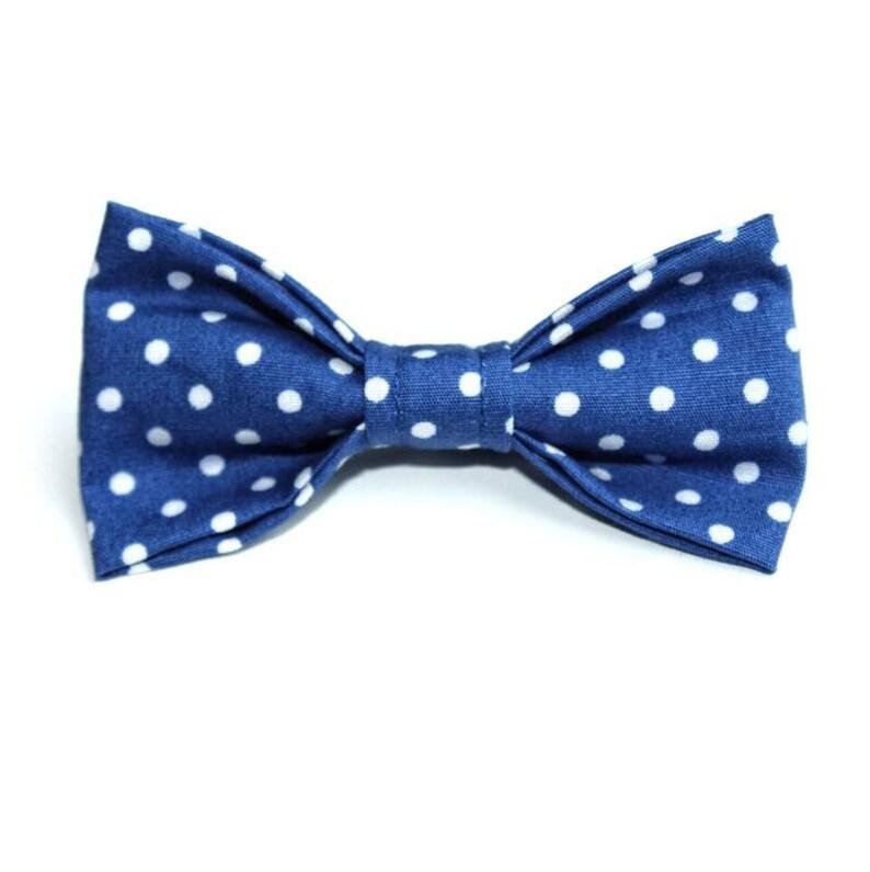 Blue Polka Dog Bow Tie