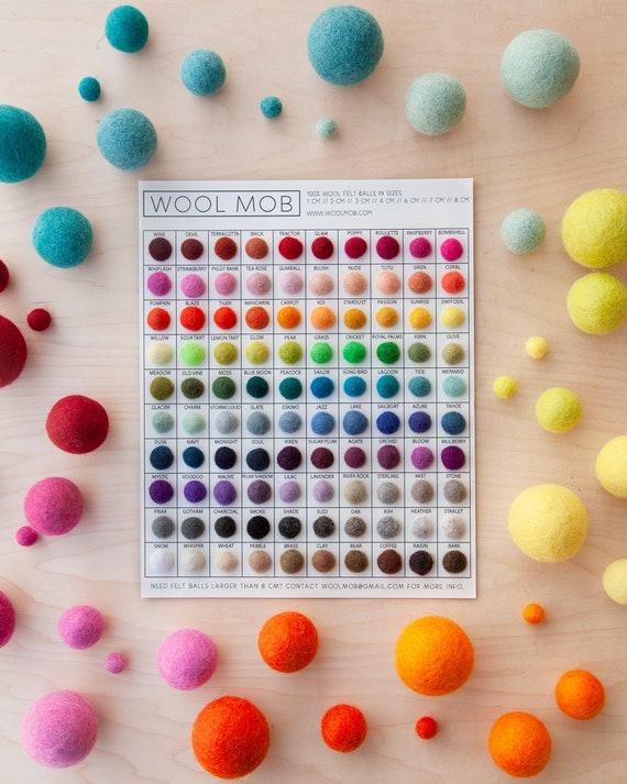 100/% Merino Wool Felt Balls-Bead-garlands-jewellery-toy making-Pompom-2cm-1cm