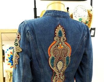 Boho Jacket, Indian Jacket, Vintage Jacket, Hippie Jacket, Jewel Jacket, Denim Jacket