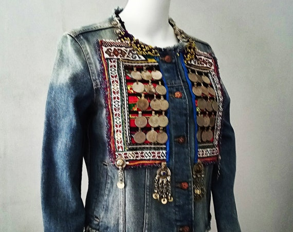 Boho Jacket, Tribal Jewel Jacket, Jewel Jacket, Tribal Jacket, Boho Denim Jacket, Hippie Jacket, Bohemian Jacket, Ethnic, Denim Jacket.