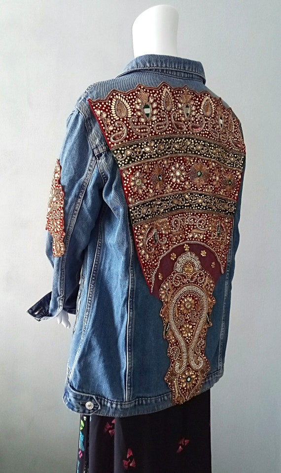 boho jacke jeansjacke boho indische jacke vintage jacke etsy. Black Bedroom Furniture Sets. Home Design Ideas