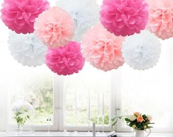 9 Pack MIX Tissue Paper Pom Poms Paper Pompoms Flower Wedding Party - 3 colors