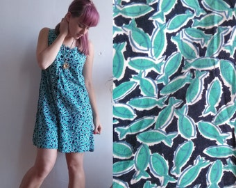 a3a92104159 Vintage Laura Ashley Fish Print Jumpsuit   Romper. Size Medium. Turquoise  Jersey. 90s 80s playsuit nautical