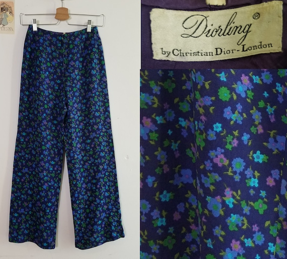 "Rare 60s Christian Dior Floral Trousers. XS, 24"" W"