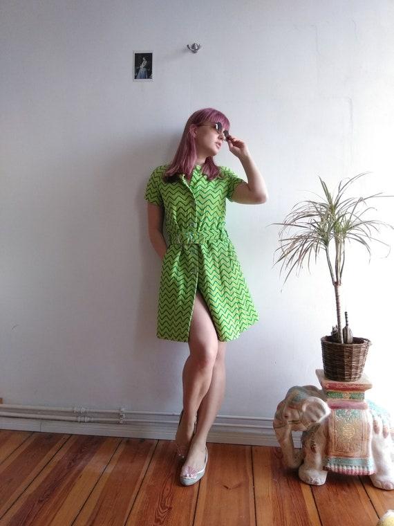 60s Nina Ricci Cotton Towel Dress. Medium. Lime gr