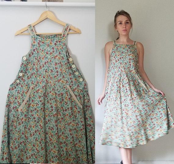 Vintage 40s Corduroy Trim Pinafore Dress. Small -