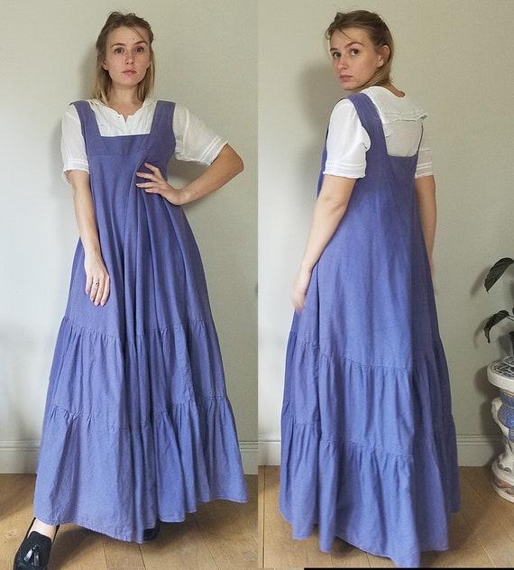 70s Laura Ashley Blue Maxi Pinafore Dress. Medium