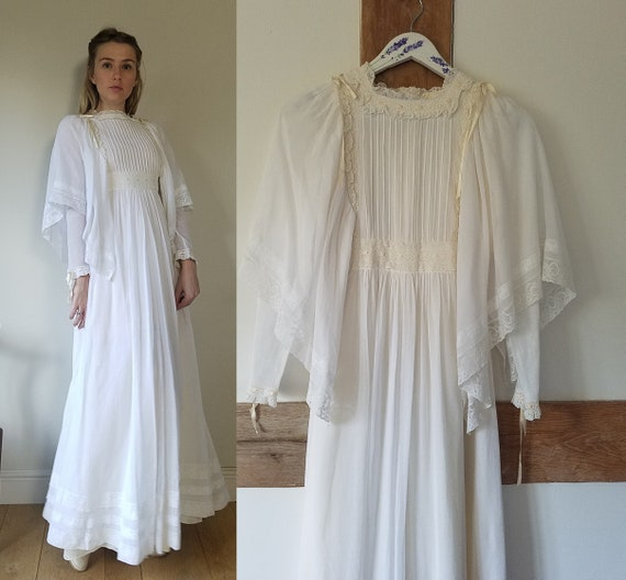 70s Gina Fratini Cotton Voile Maxi Dress. Size Sma