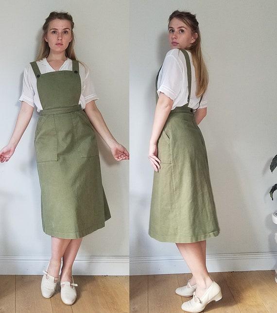 "70s Laura Ashley Pinafore Dress. Small - 26"" Waist"