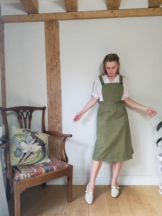 """70s Laura Ashley Pinafore Dress. Small - 26"""" Wais… - image 2"""