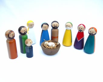 Large Nativity Peg Doll Set available in different skin tones