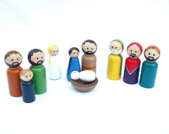 Small Nativity Peg Doll Set available in different skin tones