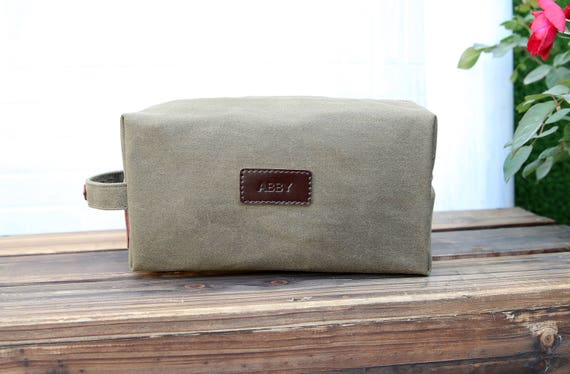 4a804e7dcd Personalized Waxed Canvas   Leather Hand Made Dopp Kit Men