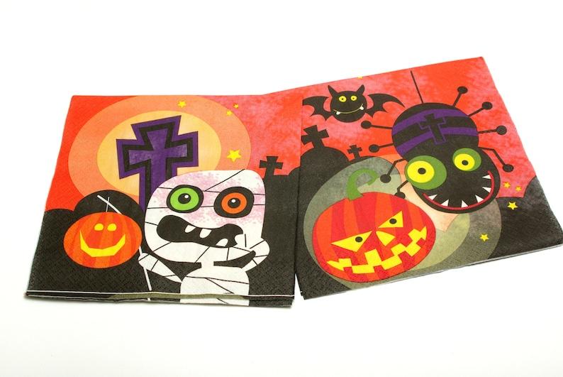 Decoupage napkins Tissue Napkin 2 Decoupage napkins 33x33cm Paper Napkins Scary halloween decorations  #019 Napkins for decoupage