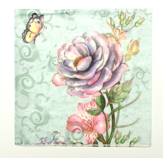 4x PAPER NAPKINS for Decoupage WATERCOLOUR LEAFS GREEN Flowers Floral