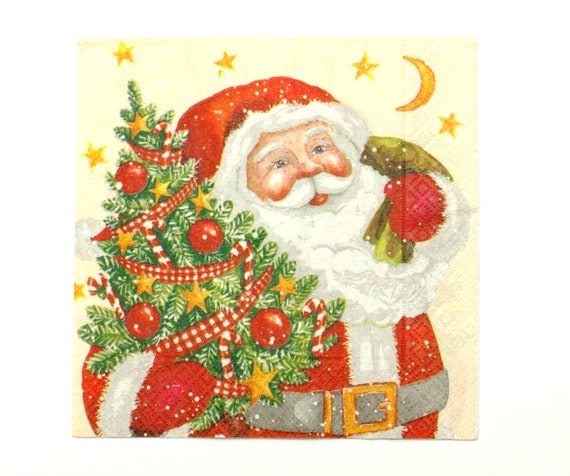 33 cm 4 x single paper napkins- decoupage napkins- crafts supply- Santa- Christmas time scrap booking paper collage- crafts- art- New