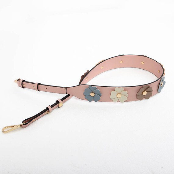 Leather flowers Bag Strap yellow blue pink leather Removable Purse Strap Interchangeable Strap Replacement Handle