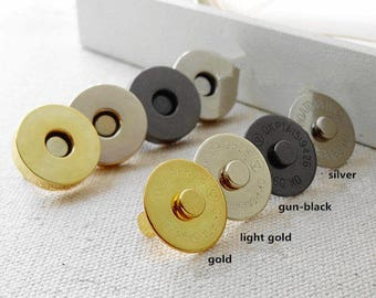 10Sets 18mm DIY Magnetic Fastener Snaps, Purse Handbag Clasp Closures, Metal Magnet buttons, Bag Craft Supplies, Rivet Press Studs Materials
