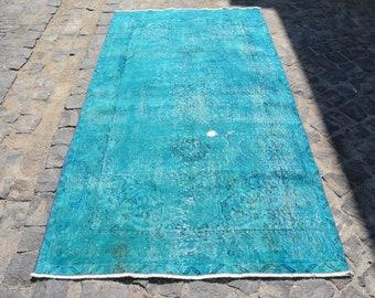 turquoise rug, handmade rug, turkish rug, organic rug, handmade rug, bohemian rug, magic rug vintage rug Free Shipping 3.9' x 7.1' Code 3379