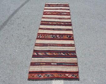 Turkish Kilim, Runner Kilim, Vintage Kilim, Home Decor Kilim, 27x81 inches Beige Kilim, Organic Kilim, Kitchen Kilim,  10474