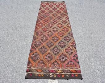 Runner Kilim, Vintage Kilim, Turkish Kilim, Home Decor Kilim, 30x98 inches Pink Kilim, Outdoor Kilim, Kitchen Kilim,  10357
