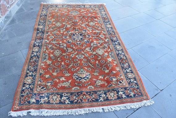 Blumen Muster Jahrgang Oushak Teppich Rot Und Blau Farben Etsy
