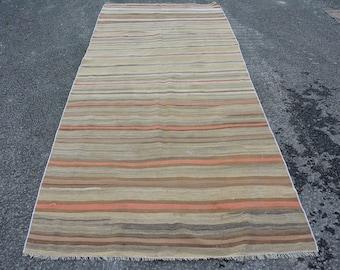 striped kilim, runner kilim, organic kilim, handmade kilim, oriental, turkish kilim, vintage kilim, 4.6' x 10.3', oushak kilim,  Code 5424