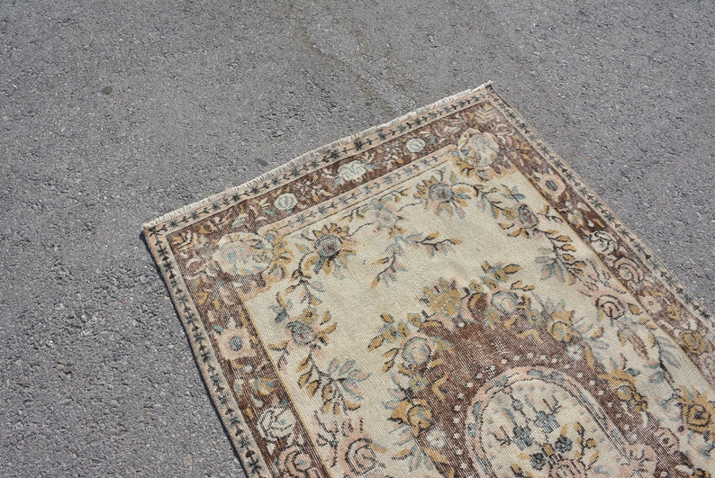 Floor Rug,Decor Rug Turkish Rug 3.8x7 ft Oriental Rug,Oushak Rug Vintage Rug,Organic Rug Old Rug Antique Rug Handmade Rug Code 7171
